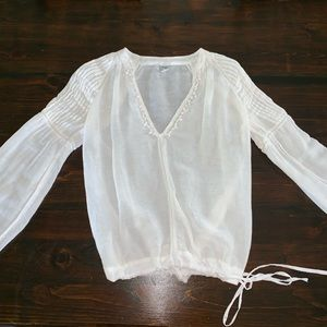 Free People White Linen Cuffed Peasant Sleeve Top